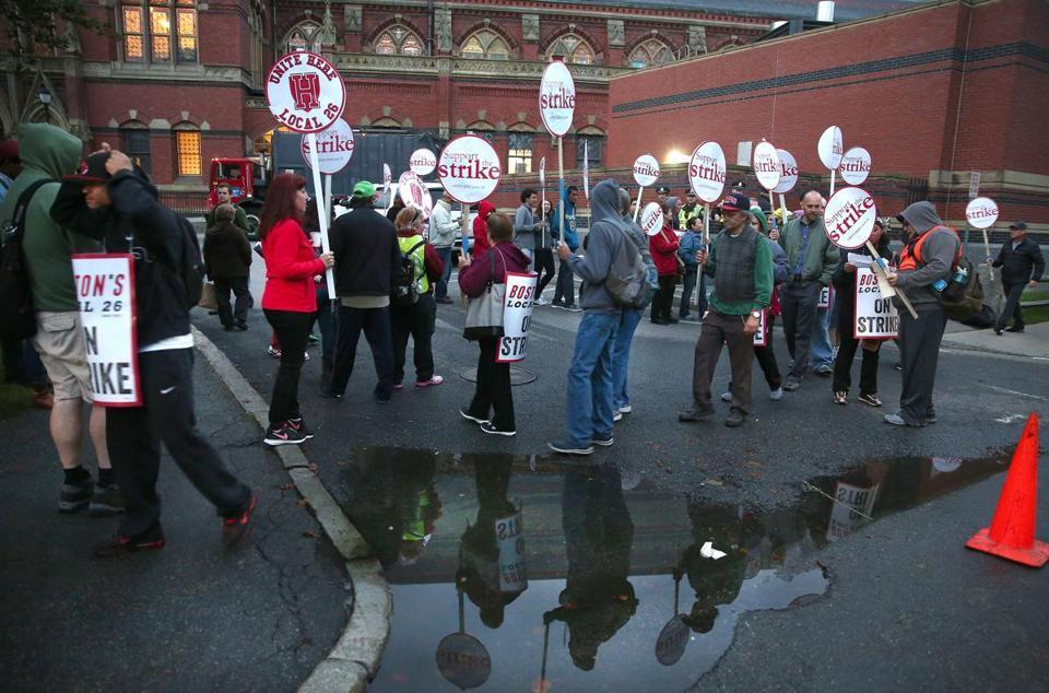 Dining hall workers at Harvard University started their strike earlier this month.